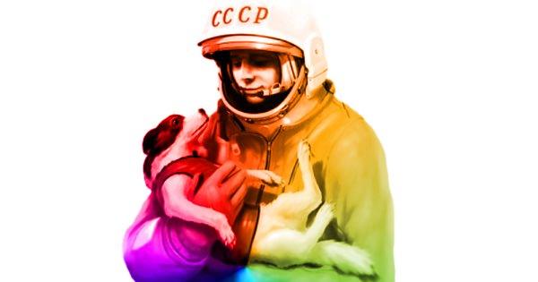 Юрий Гагарин и собака Лайка