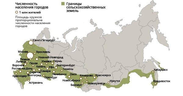 Крта сельскохозяйственных земель РФ