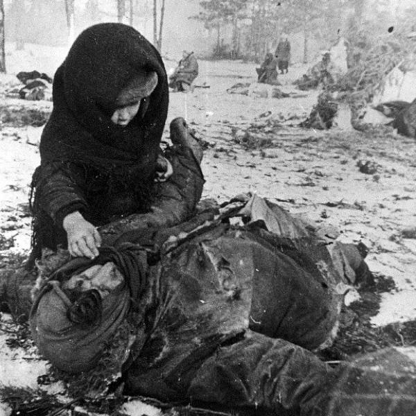 Советский ребенок рядом с убитой матерью. Концлагерь для гражданского населения «Озаричи». Белоруссия, местечко Озаричи Домановичского района Полесской области