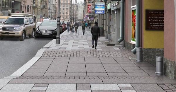 пандус во всю ширину тротуара